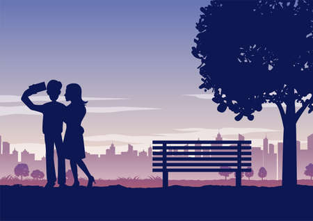 Silhouette of activities of people in park couple selfie on their dating,vector illustration 向量圖像