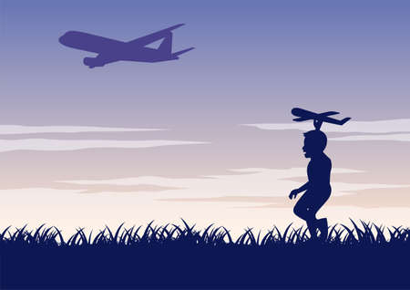 silhouette design of boy play model plane following real plane,vector illustration