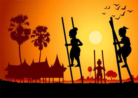 silhouette design of Thai play,legs tho kathe,vector illustration