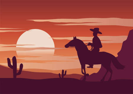 cowboy and horse ars in the desert of USA on sunset  time,vector illustration