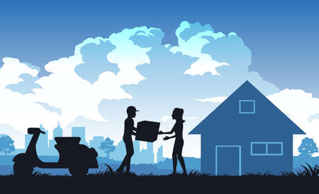 Silhouette of activities of people,woman receive parcel from messenger,vector illustration