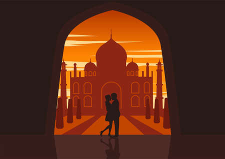 Couple hug together in front of Taj mahal symbol of love and heritage of the world