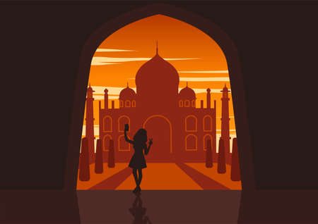 Silhouette of activities of people at famous landmark woman selfie to Taj Mahal of India,vector illustration