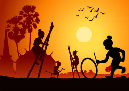 silhouette design of Thai play,riding banana horse,legs tho kathe and hitting wheel,vector illustration