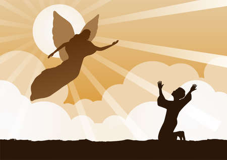 angel flying to bless to prayer,vector illustration