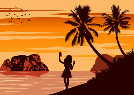 Nature scene of sea in summer woman hold smartphone to selfie herself,vector illustration