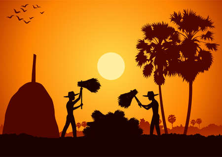 country life of Asia man harvest rice by hit rice sheaf on sunrise time,silhouette style,vector illustration 矢量图像