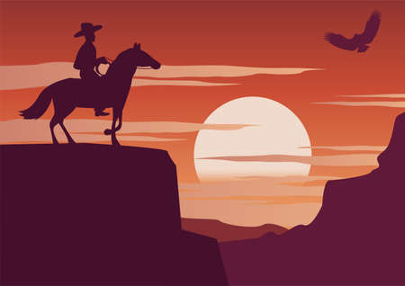 cowboy and horse standing on cliff on sunset time, vector illustration