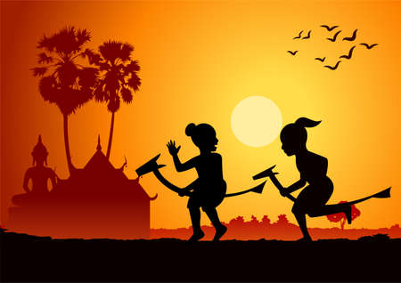 silhouette design of boys riding banana horse, vector illustration