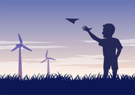 silhouette design of boy play paper plane,vector illustration 向量圖像