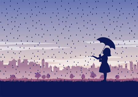 silhouette design of girl and umbrella in the middle of rain,vector illustration