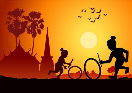 silhouette design of boys hitting wheels, vector illustration 矢量图像