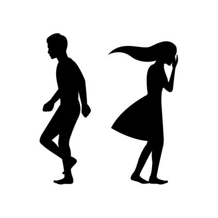 black silhouette design with isolated white background of couple breaking up,vector illstration