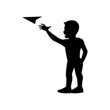 black silhouette design with isolated white background of boy play paper plane,vector illstration