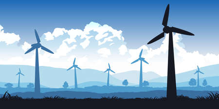 Silhouette design of turbines field with blue tone color,vector illustration