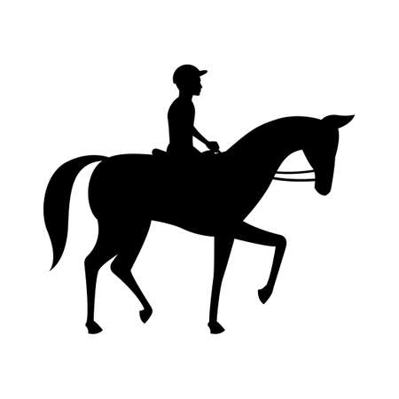 black silhouette design with isolated white background ofjockey and horse,vector illstration
