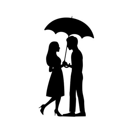 black silhouette design with isolated white background of couple hold umbrella,vector illstration
