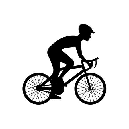 black silhouette design with isolated white background of man cycling,vector illstration