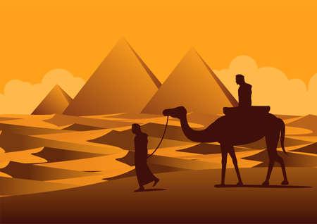 Silhouette design of men and camel walking across desert,vector illustration
