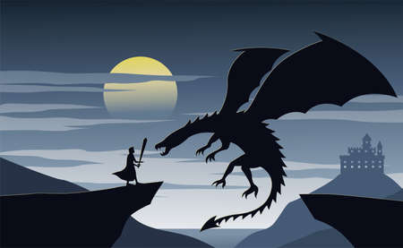 Silhouette of fiction with knight nad dragon,vector illustration