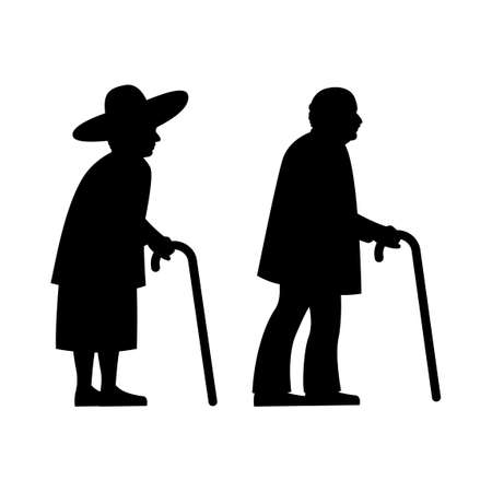black silhouette design with isolated white background of two olders,vector illstration