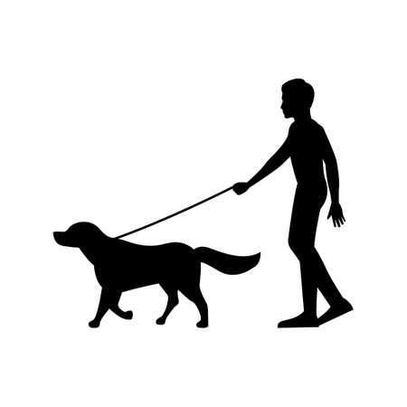 black silhouette design with isolated white background of man walking dog,vector illstration