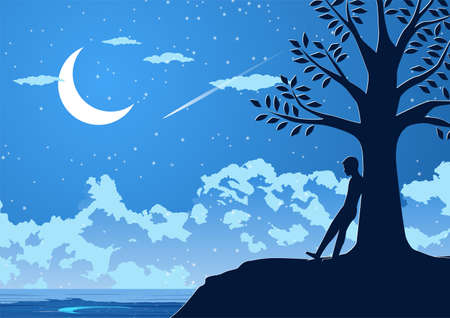 Silhouette design of lonely man on silent night at the riverside,vector illustration