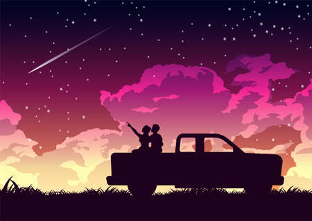 Silhouette design of couple on the back of truck to look stars,vector illustration