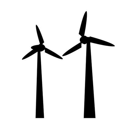 black silhouette design with isolated white background of wind mill,vector illstration