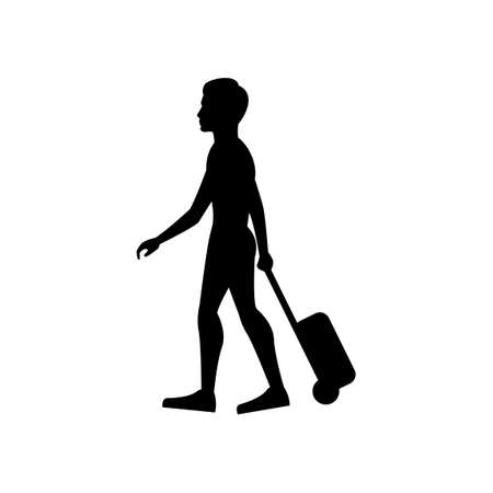 black silhouette design with isolated white background of man pull luggage,vector illstration 矢量图像