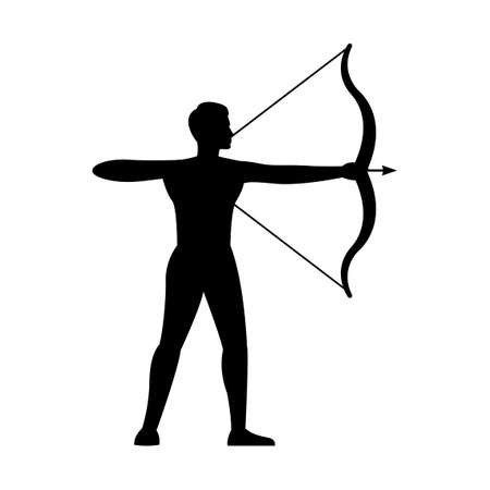black silhouette design with isolated white background of man shooting arrow,vector illstration 矢量图像