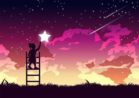 Silhouette design of girl is on ladder to keep star,vector illustration