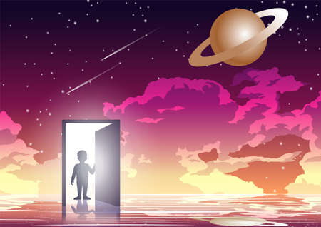 Silhouette design of boy is opening dimensional gate,vector illustration 矢量图像