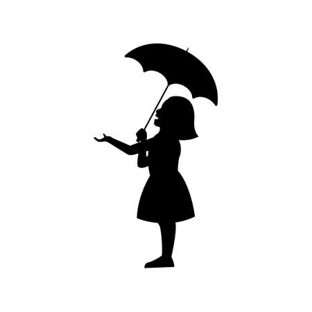 black silhouette design with isolated white background of girl hold umbrella,vector illstration