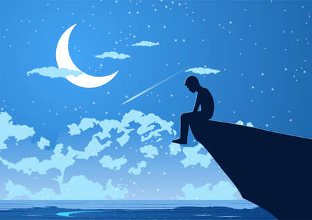 Silhouette design of lonely young man on silent night at the peak of cliff,vector illustration