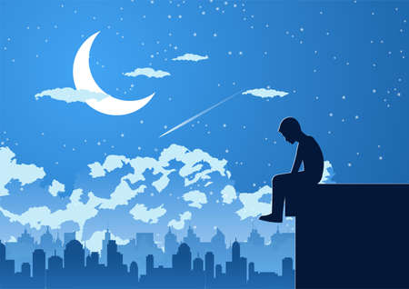 Silhouette design of lonely young man on silent night at the top of building,vector illustration