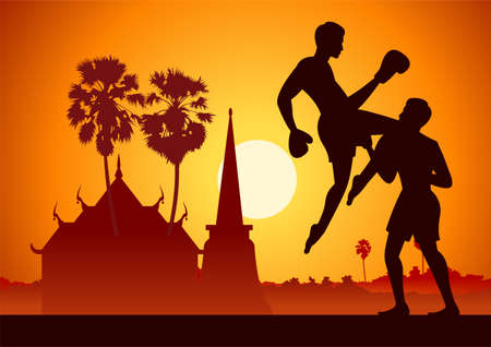 Thailand famous martial arts in scenery design with silhouette design,Muay Thai,vector illustration 矢量图像
