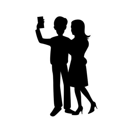 black silhouette design with isolated white background of couple selfie,vector illstration 矢量图像