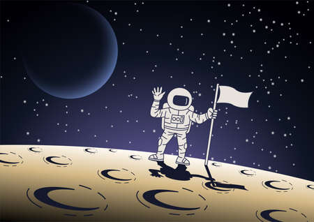 Cartoon version design of astronaut hold the flag on surface of the moon,vector illustration