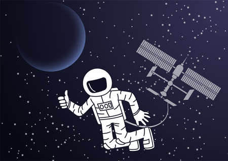 Cartoon version design of astronaut and space station out of the world,vector illustration