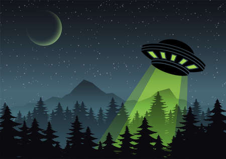 Cartoon version design of UFO fly over the forest,vector illustration 矢量图像