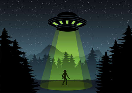 Cartoon version design of UFO fly over the forest and a man,vector illustration