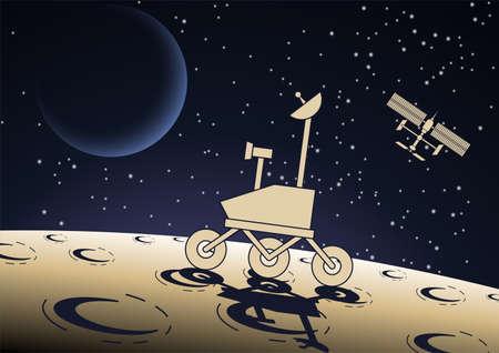 Cartoon version design of vehicle operates on the moon surface,vector illustration 矢量图像