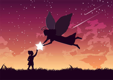 Silhouette design of angel gives star to the girl,vector illustration