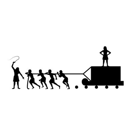 black silhouette design of slaves pulling stone brick to create pyramid,vector illustration