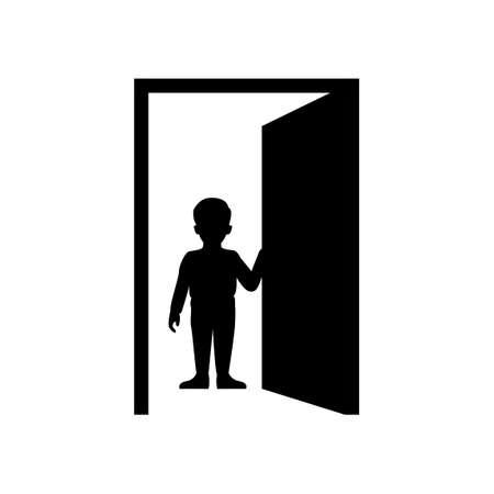 black silhouette design of boy opening door,vector illustration 矢量图像
