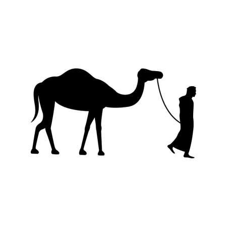 black silhouette design of man pull camel,vector illustration