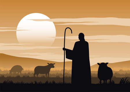 Jesus christ said about the shepherd,vector illustration 矢量图像