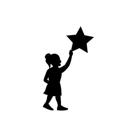 black silhouette design of girl keeping big star meaning to succeed,vector illustration