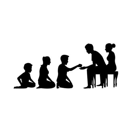 black silhouette design with isolated white background of man and his family pour water to elderly,vector illstration
